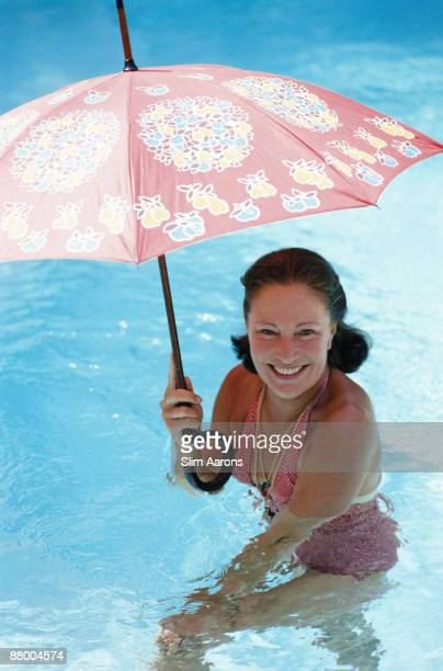 Dawn Coleman the wife of George Coleman in her private pool in Porto Ercole Tuscany August 1973