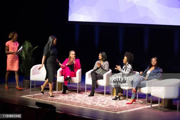 Dawn Davis Beverly Bond Michaela Angela Davis Tatyana Ali Eunique Jones Gibson and Jazmine Sullivan onstage for Black Girl Magic panel during BGR...