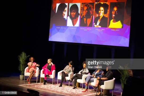 Dawn Davis Michaela Angela Davis Tatyana Ali Eunique Jones Gibson Jazmine Sullivan and Beverly Bond onstage for Black Girl Magic panel during BGR...