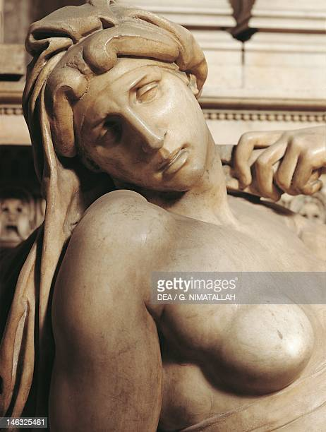 Dawn detail from the tomb of Lorenzo de' Medici 15251534 by Michelangelo marble sculpture Medici Chapel of the Church of San Lorenzo in Florence...