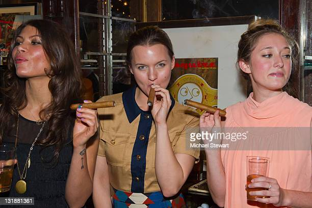 Dawn Dunning of Bambi Killers, actress Tanya Fischer and Ashley Stanton attend the Creative Coalition and friends' celebration of the Broadway show...