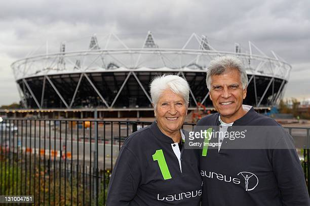 Dawn Fraser and Mark Spitz pose for a picture at the London 2012 Olympic Park during the 2011 Laureus Sport for Good Summit held on October 31 2011...