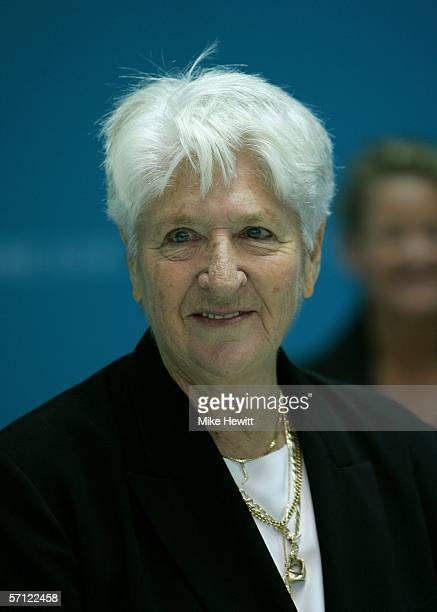 Dawn Fraser attends the medal ceremony for the women's 100 metres freestyle final at the Melbourne Sports Aquatic Centre during day three of the...