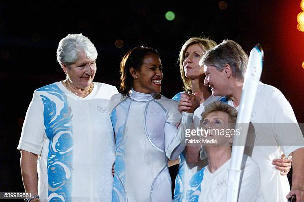 Dawn Fraser Cathy Freeman Shane Gould Raelene Boyle and Betty Cuthbert at the opening ceremony of the Sydney 2000 Olympic games at Stadium Australia...