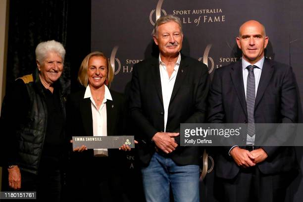 Dawn Fraser Emma Snowsill John Bertrand and Stuart Fox pose during the Sport Australia Hall of Fame Induction Media Opportunity at Crown...
