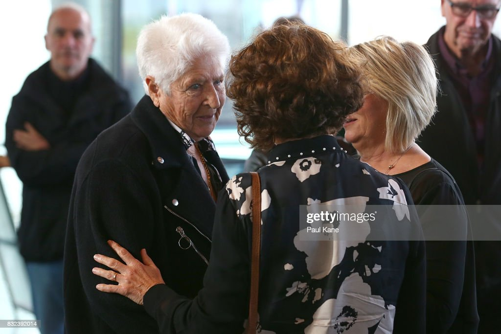 Dawn Fraser mingles with other mourners after arriving for the funeral service for Betty Cuthbert at Mandurah Performing Arts Centre on August 16, 2017 in Mandurah, Australia. Betty Cuthbert was known as 'The Golden Girl' at the 1956 Melbourne Olympics, winning the 100m, 200m and 4x100m relay. After sustaining an injury at the Rome Olympics in 1960, Cuthbert came out of a short-lived retirement to win her fourth Olympic gold medal in the 400m at the 1964 Tokyo Olympic Games. Betty Cuthbert passed away on 6 August 2017, aged 79.