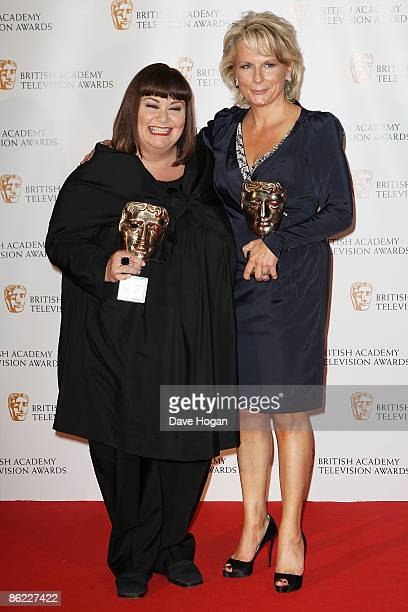 Dawn french and Jennifer Saunders pose with their Fellowship Award in the press room at the BAFTA Television Awards 2009 held at The Royal Festival...