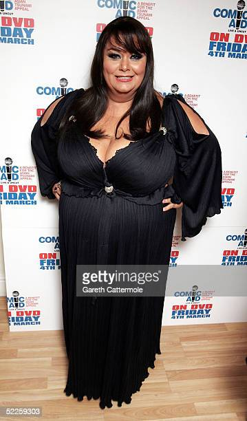 Dawn French poses in the Press Room during Comic Aid a comedy night with proceeds going to the Disasters Emergency Committee to raise funds for the...