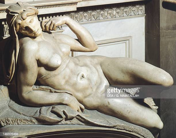 Dawn from the tomb of Lorenzo de' Medici 15251534 by Michelangelo marble sculpture Medici Chapel of the Church of San Lorenzo in Florence Tuscany