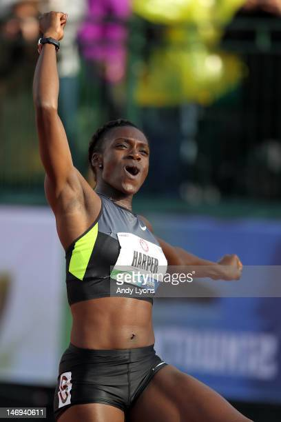Dawn Harper celebrates after qualifying for the Olympics by winning the women's 100 meter hurdles final during Day Two of the 2012 US Olympic Track...