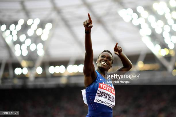 Dawn Harper Nelson of the United States reacts after competing in the Women's 100 metres hurdles semi finals during day eight of the 16th IAAF World...