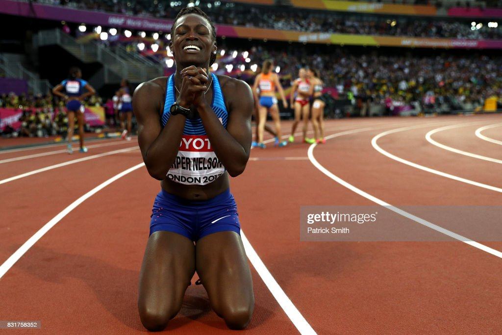 Dawn Harper Nelson of the United States, silver, celebrates after the Women's 100 metres hurdles final during day nine of the 16th IAAF World Athletics Championships London 2017 at The London Stadium on August 12, 2017 in London, United Kingdom.
