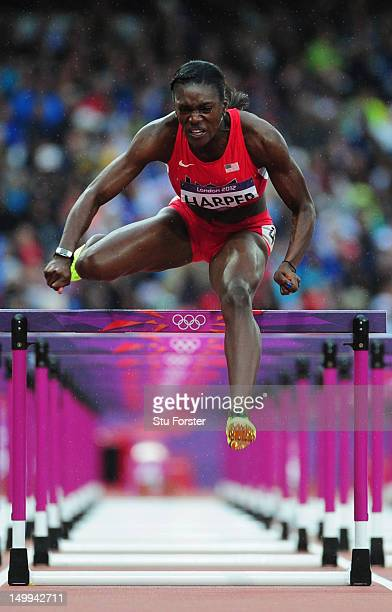 Dawn Harper of the United States competes in the Women's 100m Hurdles Semifinals on Day 11 of the London 2012 Olympic Games at Olympic Stadium on...