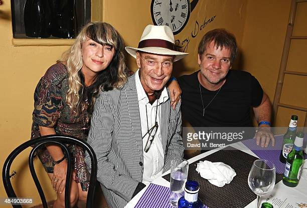 Dawn Hindle Tony Pikes and Andy McKay attend the Groucho's 30th birthday party at Pikes on August 22 2015 in Ibiza Spain