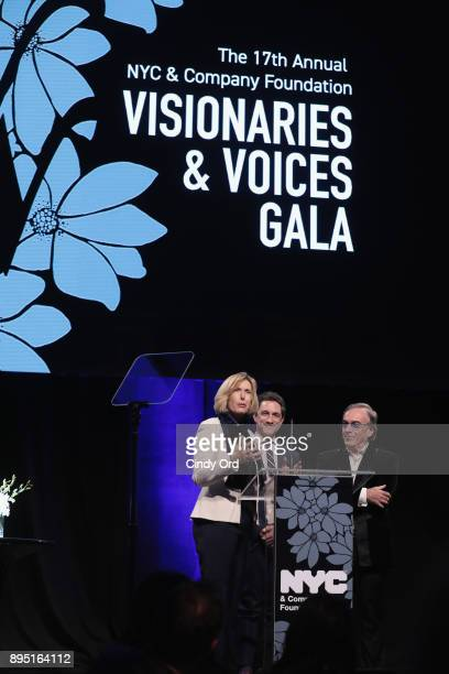 Dawn Hudson Daniel Lamarre and Danny Boockvar speak onstage at NYC Company Foundation Visionaries Voices Gala 2017 on December 18 2017 in New York...