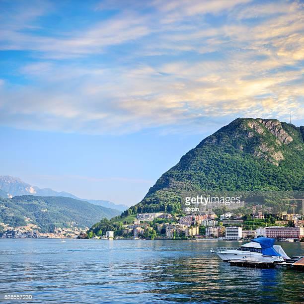 Morgendämmerung in Lugano, Schweiz