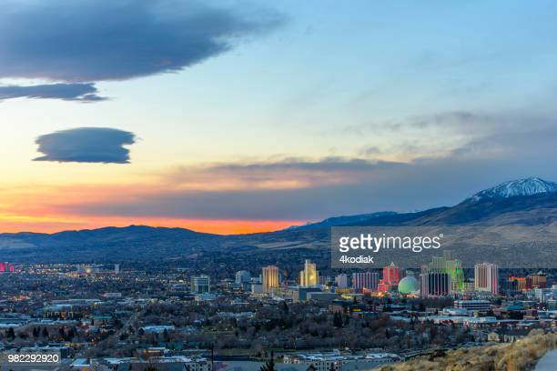 dawn in reno, nevada - nevada stock pictures, royalty-free photos & images