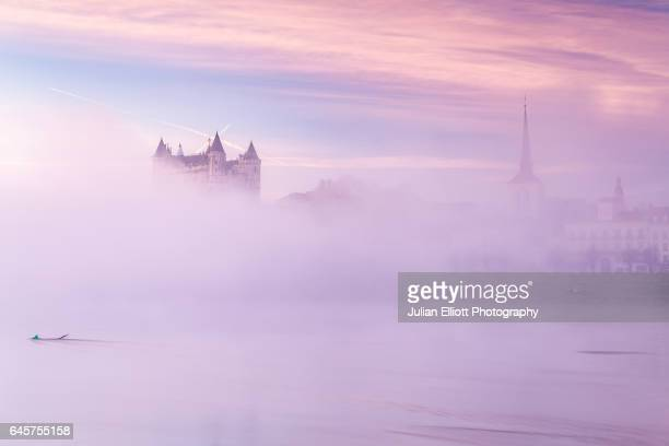 Dawn in the city of Saumur and its chateau.