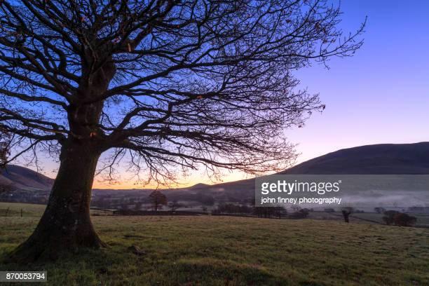 Dawn light across St John's in the Vale, Lake District UK.