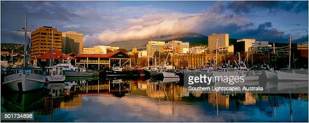 Dawn light at the Hobart waterfront, southern Tasmania.