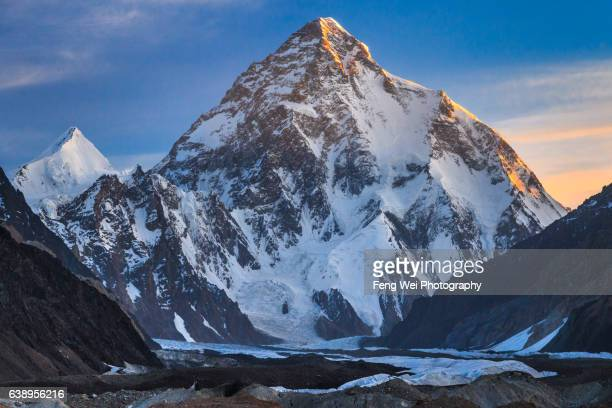 Dawn Light Over K2 & Angel Peak, Concordia, Central Karakoram National Park, Gilgit