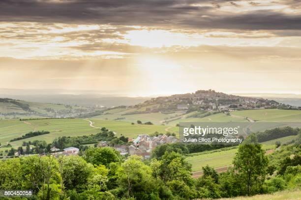 Dawn light over the village and vineyards of Sancerre, France.