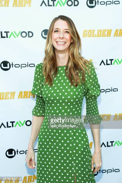 """Dawn Luebbe attends Utopia Films presents """"Golden Arm"""" premiere at Palm Sophia Rooftop on April 30, 2021 in Culver City, California."""