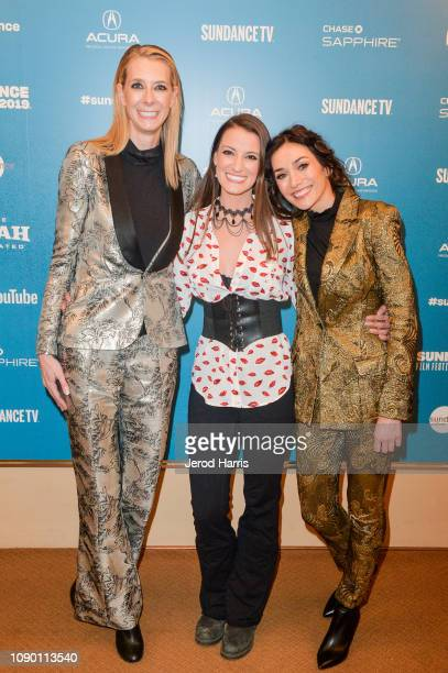 Dawn Luebbe Natalie Metzger and Jocelyn DeBoer attend the Greener Grass Premiere during the 2019 Sundance Film Festival at Egyptian Theatre on...