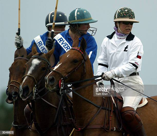 Dawn Maria Laurel plays polo at the International Polo Club Palm Beach February 6 2004 in Wellington Florida Laurel is the third wife of actor Tommy...