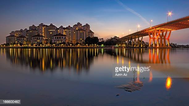 dawn of the bridge - azrin az stock pictures, royalty-free photos & images