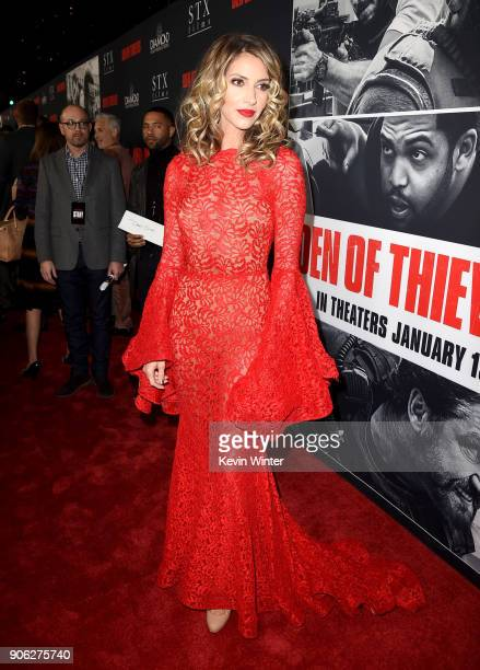 Dawn Olivieri attends the premiere of STX Films' 'Den of Thieves' at Regal LA Live Stadium 14 on January 17 2018 in Los Angeles California