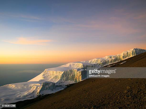 Dawn on glacier near Mt Kilimanjaro summit, Tanzania