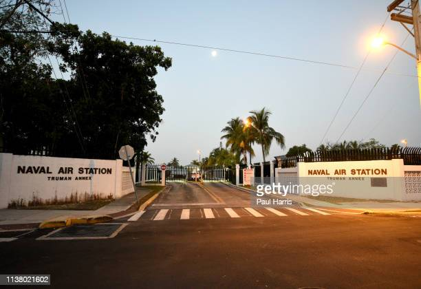 Dawn on Whitehead Street at the Naval Air Station entrance March 23, 2019 Key West, Florida