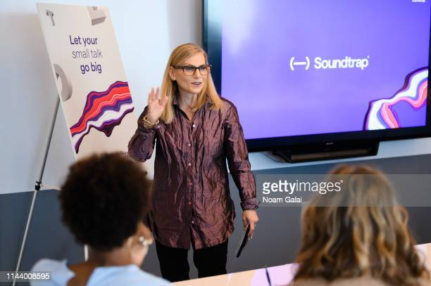 Dawn Ostroff chief content officer of Spotify speaks at a launch event for Soundtrap for Storytellers at the Spotify Headquarters on May 9 2019 in...
