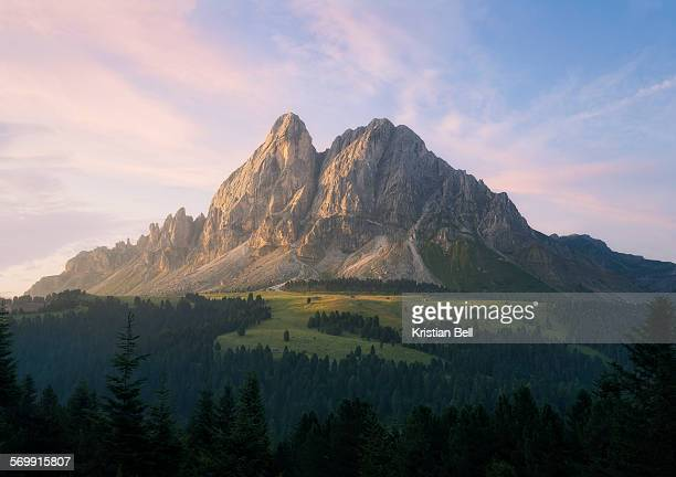 Dawn over a mountain and valley in the Dolo