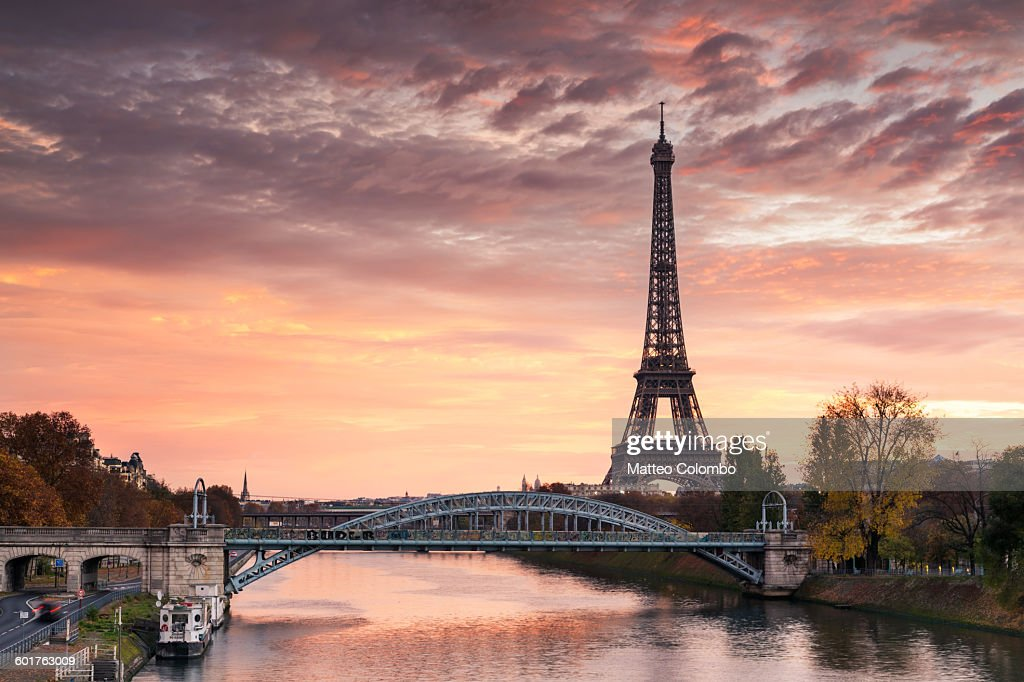 Dawn over Eiffel tower and Seine, Paris, France : Stock Photo