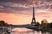 Dawn over Eiffel tower and Seine, Paris, France
