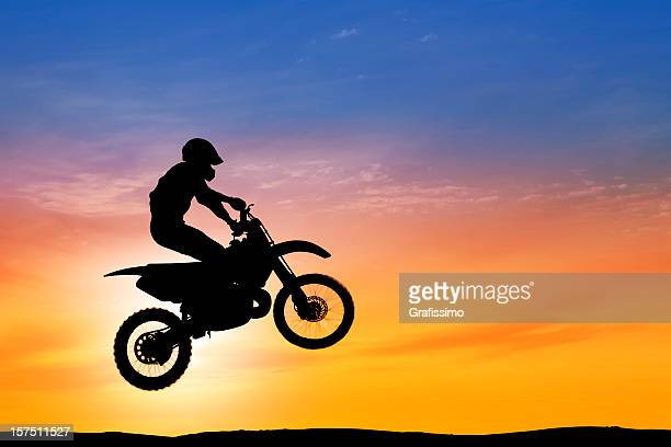 Dawn over flying motorbike