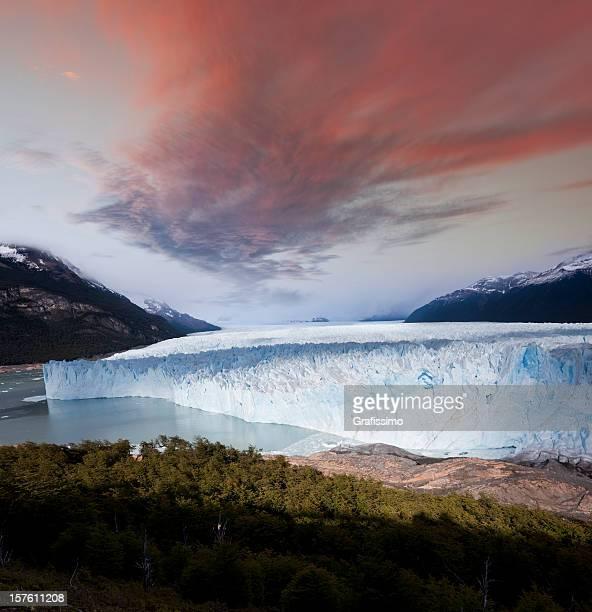 Dawn over glacier Perito Moreno Argentina Patagonia
