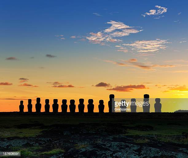 Dawn over moais at Ahu Tongariki Easter Island Chile