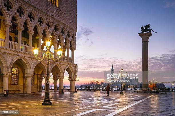 Dawn over Piazzetta San Marco and Doges palace, Venice