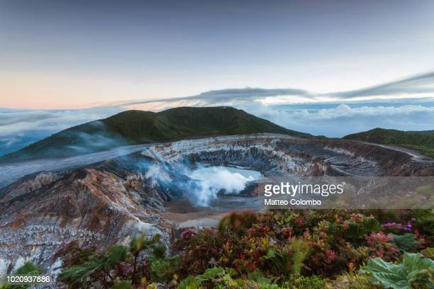 dawn over poas volcano crater, costa rica - caldera stock pictures, royalty-free photos & images