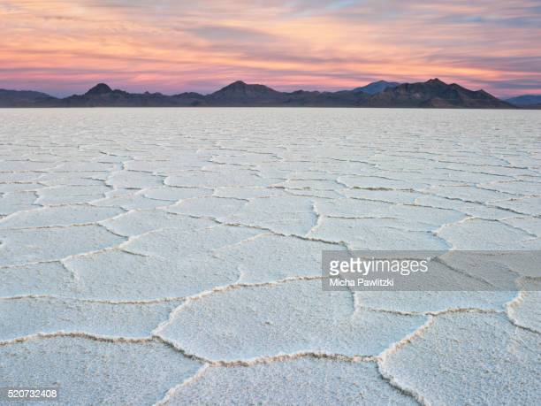 Dawn over Salt Pans at Bonneville Salt Flats State Park, Utah, USA