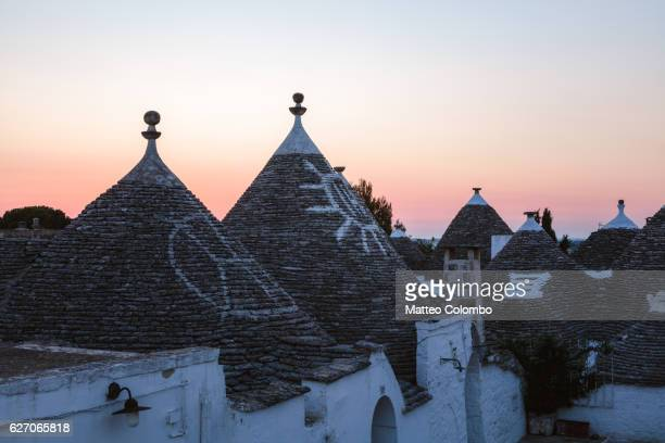 Dawn over Trulli houses, Alberobello, Apulia, Italy