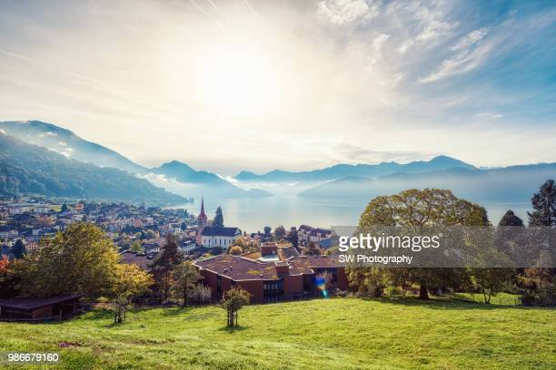 dawn photo of the beautiful small town vitznau - town stock pictures, royalty-free photos & images