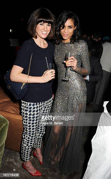Dawn Porter and Aluna Francis attend the Universal Music Brits Party hosted by Bacardi at the Soho House popup on February 20 2013 in London England