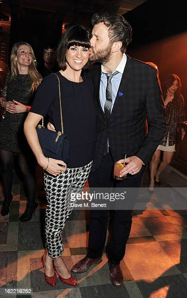 Dawn Porter and Chris O'Dowd attend the Universal Music Brits Party hosted by Bacardi at the Soho House popup on February 20 2013 in London England