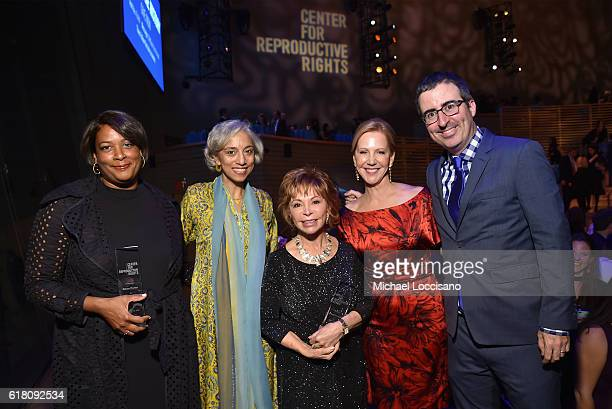 Dawn Porter Kavita Ramdas Isabel Allende Nancy Northup and John Oliver pose onstage at The Center for Reproductive Rights 2016 Gala at the Jazz at...