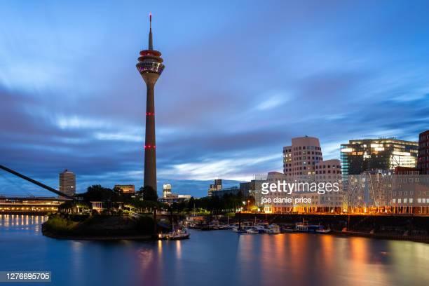 dawn, rhine tower, dusseldorf, germany - messe düsseldorf stock pictures, royalty-free photos & images