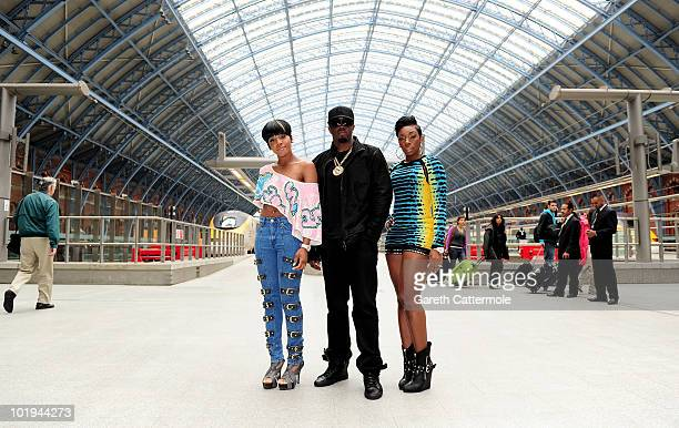 Dawn Richard P Diddy and Kaleena arrive in London via Eurostar to launch DiddyDirty Money Last Train to Paris Album at Kings Cross St Pancras Station...
